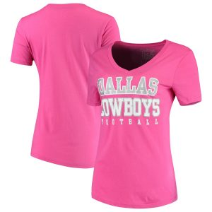 Dallas Cowboys Women's Team Practice Glitter V-Neck T-Shirt – Pink