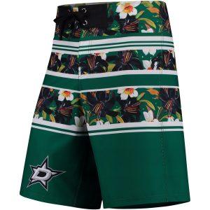 Dallas Stars Kelly Green Floral Stripe Boardshorts