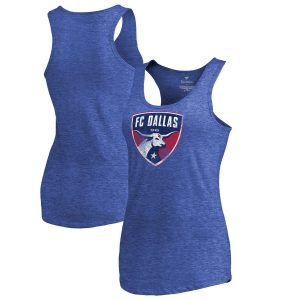 FC Dallas Fanatics Branded Women's Distressed Primary Logo Tri-Blend Tank Top