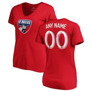 FC Dallas Fanatics Branded Women's Personalized Team Authentic V-Neck T-Shirt