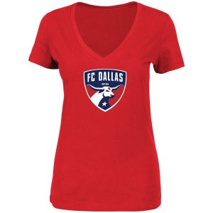 FC Dallas Majestic Women's Plus Size Primary V-Neck T-Shirt – Red