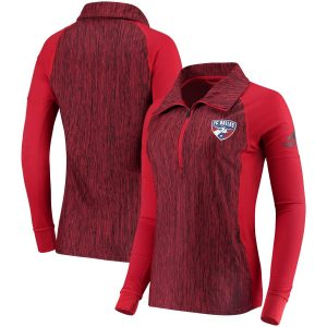 FC Dallas adidas Women's Logo Driven 2.5 Quarter-Zip Pullover Jacket – Red