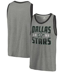 Fanatics Branded Dallas Stars Ash Timeless Collection Antique Stack Tri-Blend Tank