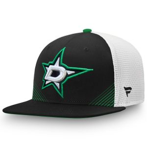 Fanatics Branded Dallas Stars Black/White Iconic Spring Emblem Adjustable Snapback Hat
