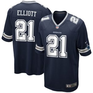Men's Dallas Cowboys Ezekiel Elliott Nike Navy Game Jersey