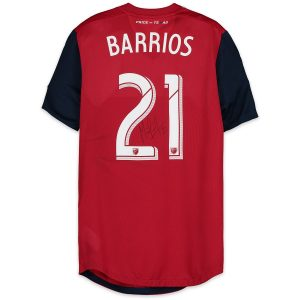 Michael Barrios Autographed Match-Used Red #21 Jersey – First Career Hat Trick
