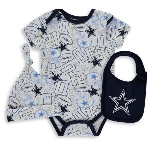Newborn & Infant Dallas Cowboys Navy Tuffy Hat, Bib & Bodysuit Set