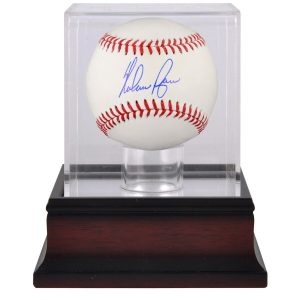 Nolan Ryan Texas Rangers Autographed Baseball and Mahogany Baseball Display Case