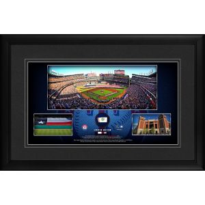 Texas Rangers Framed 10″ x 18″ Stadium Panoramic Collage with a Piece of Game-Used Baseball