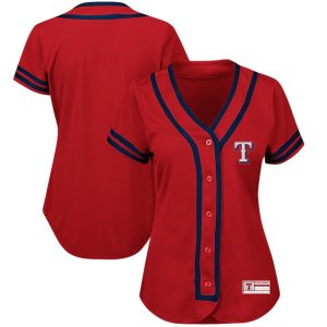 Texas Rangers Majestic Women's Plus Size Absolute Victory Fashion Jersey – Red/Royal