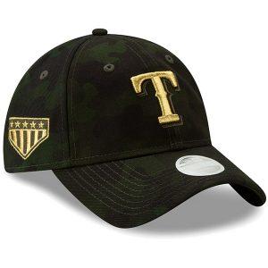 Texas Rangers New Era Women's 2019 MLB Armed Forces Day 9TWENTY Adjustable Hat – Camo