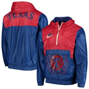Texas Rangers Nike Anorak Half-Zip Pullover Hooded Jacket – Royal
