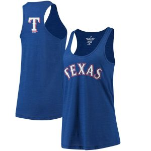 Texas Rangers Soft As A Grape Women's Front & Back Tri-Blend Racerback Tank Top
