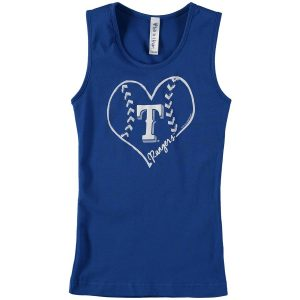 Texas Rangers Soft as a Grape Girls Youth Cotton Tank Top – Royal