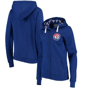 Texas Rangers Soft as a Grape Women's Line Drive Full-Zip Hoodie – Royal