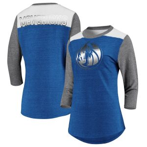 Dallas Mavericks Fanatics Branded Women's Iconic 3/4-Sleeve Tri-Blend T-Shirt – Blue/Heathered Gray