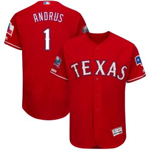 Elvis Andrus Texas Rangers Majestic Final Season Stadium Patch Alternate Flex Base Player Jersey – Scarlet