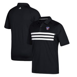 FC Dallas adidas Three Stripe Blocked Performance Polo – Black