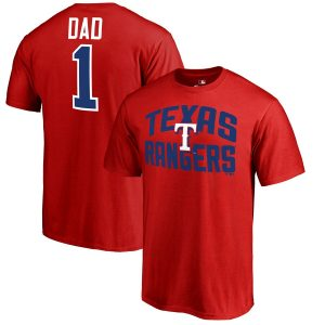 Fanatics Branded Texas Rangers Red 2019 Father's Day Number 1 Dad T-Shirt