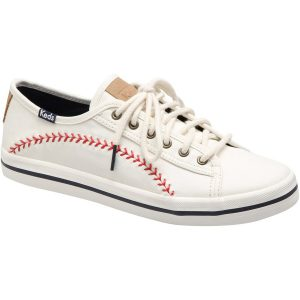 MLB Keds Women's Kick Start Pennant Canvas Shoes – White/Red
