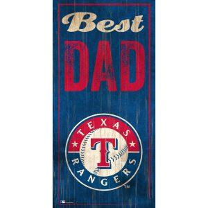 "Texas Rangers 6"" x 12"" Best Dad Sign"