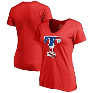 Texas Rangers Fanatics Branded Women's 2019 Memorial Day Banner Wave Plus Size V-Neck T-Shirt
