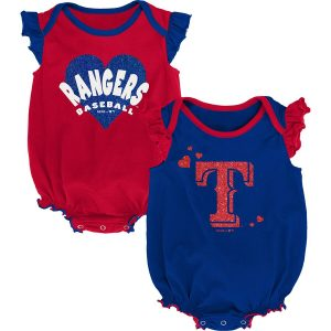 Texas Rangers Girls Newborn & Infant Double Trouble Two-Pack Bodysuit Set – Red/Royal