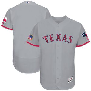 Texas Rangers Majestic 2017 Stars & Stripes Authentic Collection Flex Base Team Jersey – Gray