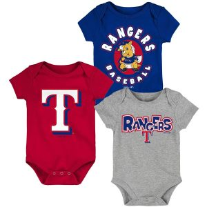 Texas Rangers Newborn & Infant Everyday Fan Three-Pack Bodysuit Set – Royal/Red/Gray