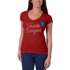 Women's Texas Rangers '47 Red Harbour V-Neck Pocket T-Shirt