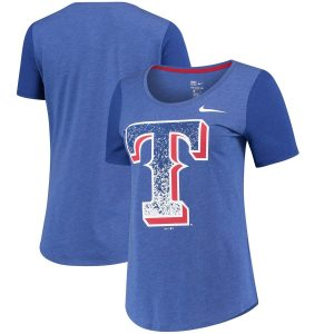Women's Texas Rangers Nike Royal Tri-Blend Scoop Neck T-Shirt
